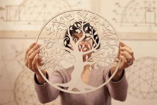 decorazione da parete di legno a forma di albero della vita