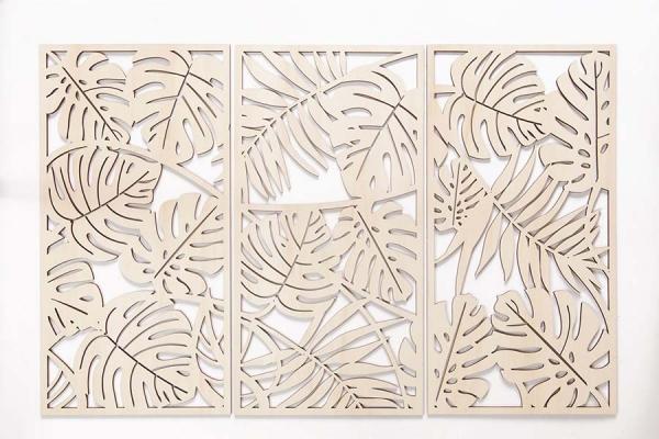 decorazione in legno da parete a tema jungle