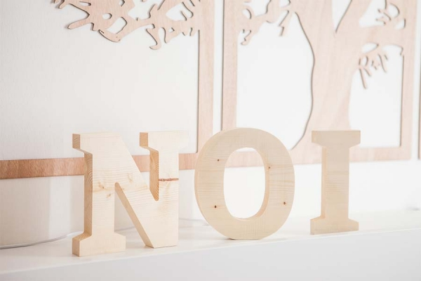 lettere di legno massello