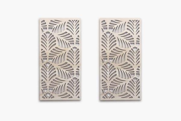 decorazione in legno da parete con pattern foglie