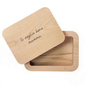 scatola portafoto in legno massello personalizzata con la dedica incisa