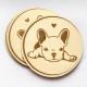 sottobicchieri di legno personalizzati con bulldog francese
