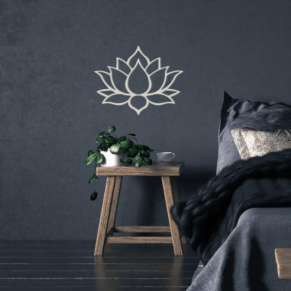 decorazione da parete in legno a forma di fiore di loto