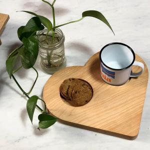 vassoio da colazione in legno forma di cuore