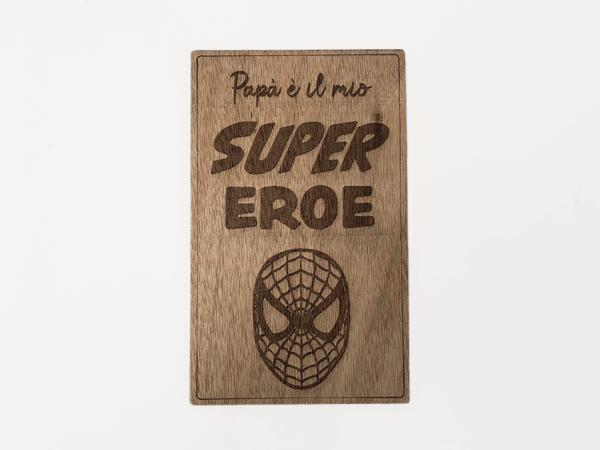 targa in legno spiderman
